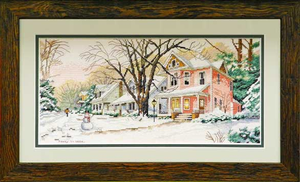 House in snow cross stitch