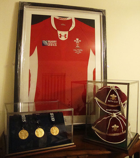 Ryan Jones shirt, caps and medals
